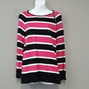 Michael Kors Pink Black Stripe zip detail Sweater